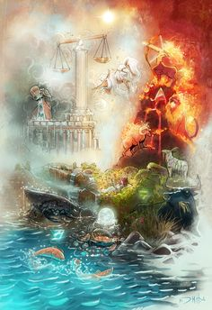 The 4 elements of the Zodiac Art Print by Michael Jared DiMotta Illustrations | Society6