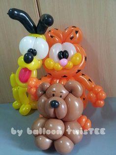 Balões - mais uma ideia para a sua utilização.   http://balaomania.pai.pt/ https://www.facebook.com/balaomania Balloon Animals ~ Garfield, Odie, & Pooky
