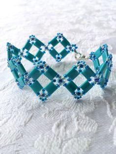 Turquoise beaded squares bracelet, Square shapes beadwork, Deco style bracelet, Tile bracelet, Vintage style bracelet, Seed bead bracelet by OdesiaMayJewellery on Etsy