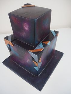 Geometric Galaxy Wedding Cake by PeggySuesCC - http://cakesdecor.com/cakes/293091-geometric-galaxy-wedding-cake