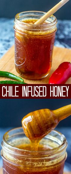 A little bit sweet and a little bit spicy this Chile Infused Honey is the perfect addition to drizzle all over your favorite foods! via Tornadough Alli Hot Honey Recipe, Honey Recipes, Flavored Honey Recipe, Spicy Honey, Honey Butter, Sweet Sauce, Hot Sauce, Honey Syrup, Dessert Dips