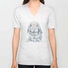Mini Lop Gray Rabbit Watercolor Painting Unisex V-Neck by Susan Windsor - $24.00