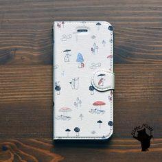 ハリネズミとキノコ/Bitte Mitte!☆iPhone6s/6 手帳型ケース・カバー【アイフォン6s/きのこ】