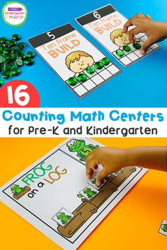 Here are the counting centers for Kindergarten that you need to help your early learners practice their counting skills. This helps build future math skills too! We've made setting up your counting math centers easy with these fun learning activities for Kindergarten and Pre-k. #kindergarten #prek #earlylearning