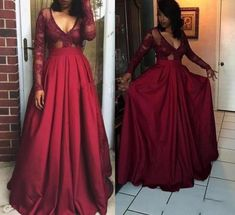 Dark Red Long Sleeve Deep V-neck Satin Floor Length Evening Dress,Sexy Prom Gown,Long Formal Gown  by olesaweddingdresses, $134.68 USD Prom Dresses For Teens, Prom Dresses Long With Sleeves, Dresses Short, Prom Dresses 2018, Plus Size Prom Dresses, Long Prom Gowns, Prom Dresses Online, Cheap Prom Dresses, Formal Gowns
