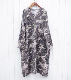 Women Cotton Linen Large Size Loose Fitting Long Dress - Buykud