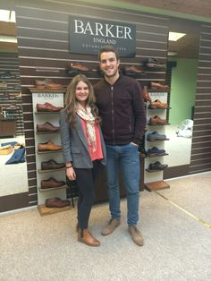 We recently fitted Northern Ireland striker Andrew Little, pictured here with sales assistant Gemma with a pair of Barker Grant in Tan waxy suede