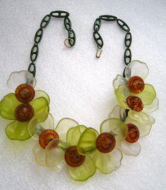 Vintage Lucite Celluloid Flowers Necklace | eBay
