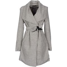 Only Coat ($92) ❤ liked on Polyvore featuring outerwear, coats, light grey, long sleeve coat and double-breasted coat