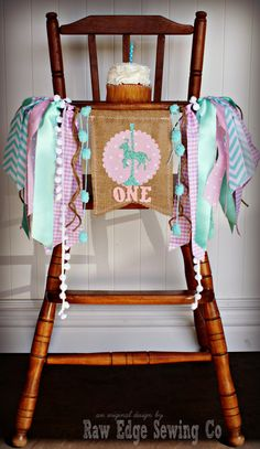 CAROUSEL HORSE Aqua and Pink Burlap Birthday by RawEdgeSewingCo