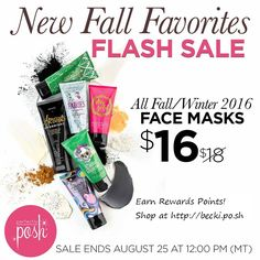 Moisturize, detoxify, exfoliate, brighten, soothe, and hydrate your skin with our naturally based face masks! All current catalog face masks are now on sale for $16. Hurry! Sale ends Thurs, Aug 25 at 12 PM (MT). http://becki.po.sh