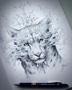 Snow Leopard Spirit  Original Drawing  Fantasy Pencil by JoJoesArt