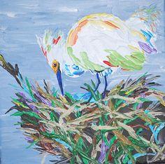 Snowy Egret bird blue eggs in nest 12x12 acrylic