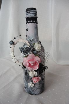Altered bottle by AllegondaArts on Etsy