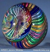 """James Alloway Art Glass - """"Dr Feelgood"""" Marble (Rainbow Swirl) measuring inches in diameter. Art Of Glass, Blown Glass Art, Glass Artwork, Glass Marbles, Glass Paperweights, Glass Ball, Stained Glass Windows, Glass Design, Lampwork Beads"""