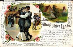Litho Gruß aus dem Altenburger Lande, Paar tanzt in Trachten #Altenburg