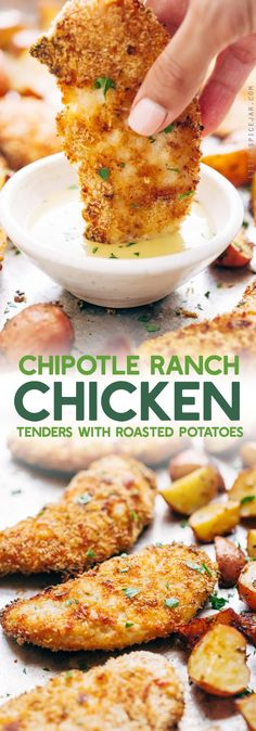 Crunchy Chipotle Ranch Chicken and Potatoes - 7 easy ingredients in this meal and comes with a side of ranch roasted potatoes! So good! #chickentenders #bakedchickentenders #ranchpotatoes | Littlespicejar.com
