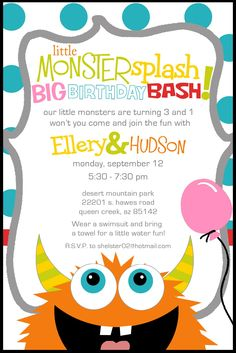 mcbrides little monster birthday partyperfect for a splash pad monster party invites to monster bash - Monster Birthday Party Invitations