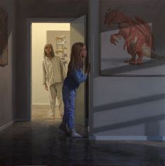 """Ron Francis - """"Dragons and Ponies"""" oil - """"Portrait of two sisters, a representation of the girls' personalities, arranged so neither was dominant. Mural Painting, Figure Painting, Oil Paintings, Ron Francis, Bo Bartlett, Art Addiction, Magic Realism, Oil Portrait, Australian Artists"""