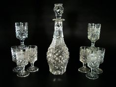 Wexford Decanter Set 8 Wine Glasses Vintage by ZenGirlAntiques. For more info or to purchase this item double click on the picture.