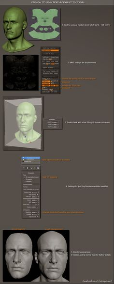 This is a tutorial on how to get your high-res sculpt to work with vray displacement. by Fabio Pacheco Paiva