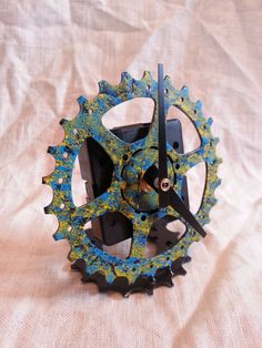 recycled bike gear table top clock by davehardell on Etsy, $25.00