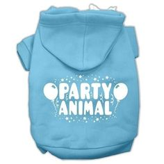 Party Animal Screen Print Pet Hoodies Baby Blue Size Med (12)