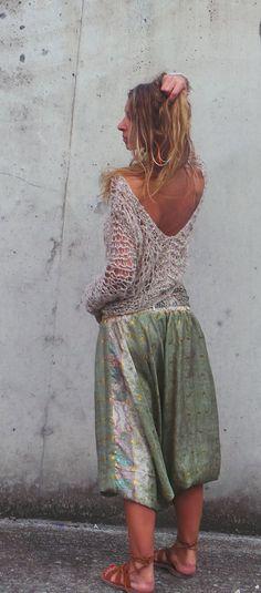 women's beige boho sweater top / beige v.neck boho  by ileaiye