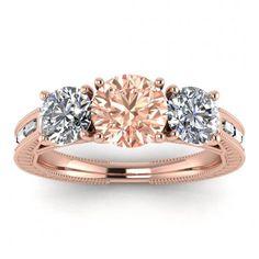 #14k #Rose #Gold #Capri #3 #Stone #Morganite #And #Diamond #Baguette | Etsy #14k #morganite #ring #18k #morganite #ring #rose #gold #engagement #wedding #ring #engagement #ring #rose #gold #morganite #morganite #ring #morganite #engagement #baguette #accents #milgrain #leaves #engraving #bezel #accents #3 #stone #ring Baguette Engagement Ring, Baguette Ring, Baguette Diamond Rings, Three Stone Engagement Rings, Morganite Ring, Morganite Engagement, Pink Tourmaline, Wedding Ring Bands, Diamond Shapes