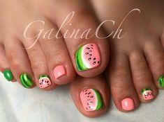 Toenail Art Designs, Pedicure Designs, Pedicure Nail Art, Toe Nail Art, Pretty Toe Nails, Cute Toe Nails, Diy Nails, Watermelon Nails, Pretty Halloween