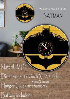 BATMAN Wooden painted Wall clock #MDF #creativity #loking #great #lasercut #TimeCraft E Craft, Wooden Walls, Dark Knight, Clocks, Hanger, Creativity, Batman, Ebay, Wall Clocks
