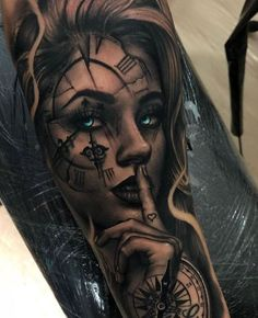 Image could contain: one or more people tattoos d diy tattoo im. - Image could contain: one or more people tattoos d diy tattoo images - Skull Girl Tattoo, Girl Face Tattoo, Girl Arm Tattoos, Arm Sleeve Tattoos, Tattoo Sleeve Designs, Body Art Tattoos, Hand Tattoos, Realistic Tattoo Sleeve, Tattoo Ink