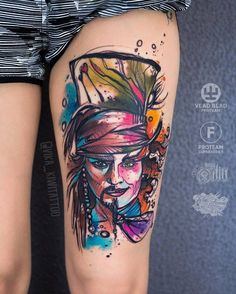 40 Graphic Watercolor Tattoos by Vika KIWI - Jack Sparrow Mini Tattoos, Body Art Tattoos, Tattoo Drawings, Sleeve Tattoos, Tatoos, Mad Hatter Tattoo, Jack Sparrow Tattoos, Jack Sparrow Drawing, Tattoos For Women