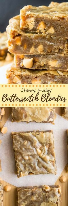 These butterscotch blondies are chewy, fudgy, a little gooey and filled with big butterscotch flavor & butterscotch chips. Made in one bowl, they're basically super easy butterscotch brownies