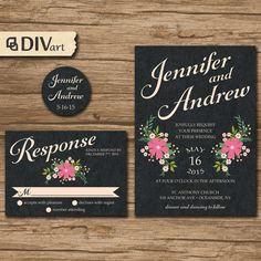 PRINTABLE DIY Wedding Invitation Suite, Response Card, Bellyband - garden flowers, boquet, garden wedding - Jenny, by DIVart