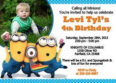 Despicable Me Minion Birthday Party by FunPartyInvitation on Etsy, $8.99