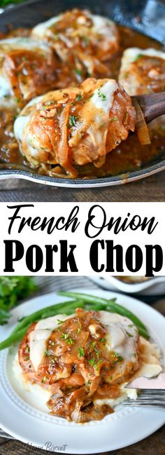 French onion pork chops are smothered in a thick and flavorful gravy, topped with melted cheese. An easy one-pan weeknight dinner the whole family will love. #porkchop #frenchonion #smotheredporkchop Pork Chop Recipes, Meat Recipes, Cooking Recipes, Pork Chop Meals, Recipies, Supper Recipes, Turkey Recipes, Fall Recipes, Delicious Recipes