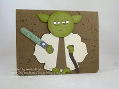 Yoda Star Wars Birthday (Did You Stamp Today? Star Wars Birthday, Birthday Wishes, Birthday Cards, Paper Punch Art, Punch Art Cards, Boy Cards, Kids Cards, Yoda Card, Fathers Day Cards