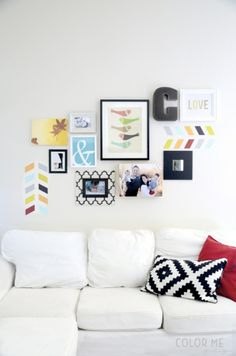 colorful stenciled gallery wall | colormemeg.com