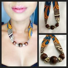 Necklace in wax, African fabric and its beads in varnished wood. Rope Jewelry, Modern Jewelry, Jewelery, African Necklace, African Jewelry, African Beads, Fabric Earrings, Fabric Jewelry, African Accessories