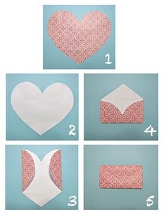 Make an envelope out of a heart-shaped piece of paper #valentines #envelope