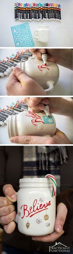 Make a cute DIY painted mug for the holidays with paint pens and adhesive stencils in less than 10 minutes! Great neighbor gifts!                                                                                                                                                                                 More