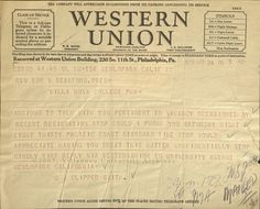 Telegram to Allen from Millikan, 1937 S Class, Western Union, Westerns, Appreciation, Messages, Lettering, Day, Wwii, Layouts