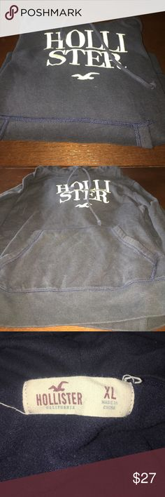 Navy Hollister Hoodie Cropped navy blue Hollister hoodie! fits more like a large!! Hollister Tops Sweatshirts & Hoodies