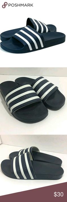 Adidas Adilette Slides Men's 8 Flip Flop Sandals Adidas Adilette Slides Men's Size 8 Flip Flop Sandals Stripes Blue White  Excellent used condition.   Pre-owned item condition. Item has little to no signs of wear unless specifically stated. Please carefully review item details and uploaded pictures for details of this item before bidding or buying. Item is functional and ready for your closet!    MS adidas Shoes Sandals & Flip-Flops