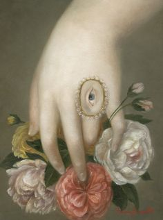 """Hand with Roses and Lover's Eye"" 2016, oil on panel, Fatima Ronquillo."