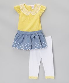 Yellow & Gray Bow Tunic & Leggings - Infant, Toddler & Girls