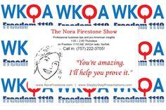 Nora Firestone Show on WKQA radio banner.