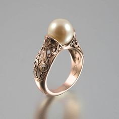 The ENCHANTED PEARL 14K rose gold ring by WingedLion on Etsy, $1245.00