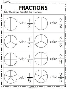 Free Fraction Worksheet – Color the Fraction Simple print and practice page for fractions. Look at each fraction and shade the circle to match. Free Fraction Worksheets, Math Fractions Worksheets, Learning Fractions, First Grade Math Worksheets, Homeschool Worksheets, Fraction Activities, Teacher Worksheets, 1st Grade Math, Homeschool Math